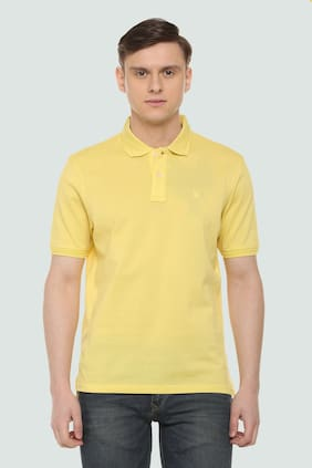 Louis Philippe Men Regular fit Polo neck Solid T-Shirt - Yellow