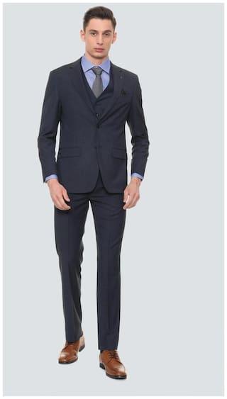 Louis Philippe Men Blended Regular Fit Suit - Blue