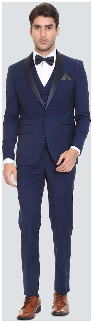 Louis Philippe Men Blended Double Breasted Suit  Blue Color