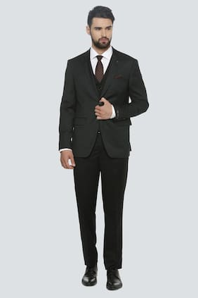 Louis Philippe Men Blended Slim Fit Suit - Black