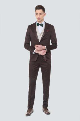 Louis Philippe Men Blended Slim Fit Suit - Brown