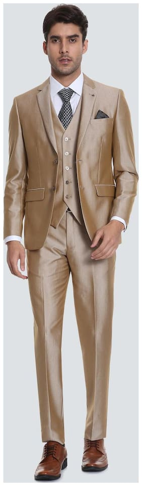 Louis Philippe Men Blended Slim fit Suit - Beige