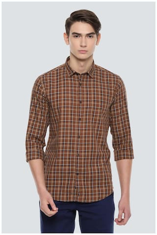 Louis Philippe Men Brown Checked Super Slim Fit Casual Shirt