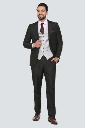 Louis Philippe Men Blended Slim Fit Suit - Black
