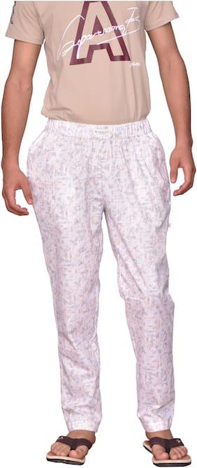 LOWERS CLUB Men Cotton Printed Pyjama - White