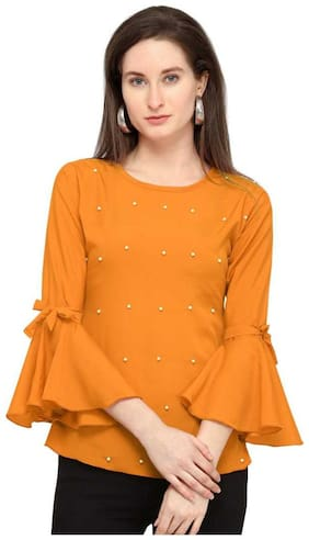 Loywis Fashion Western Top For Women And Girl Bell Shaped Sleeves And Moti Embellished