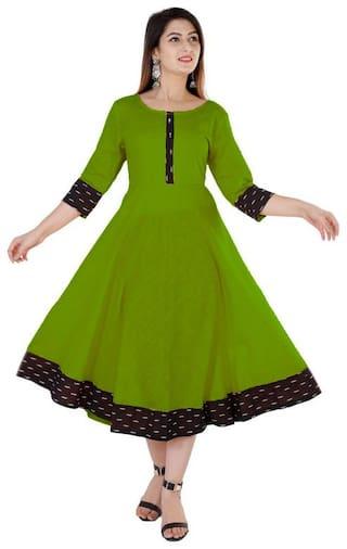 Loywis Fashion Women Green Solid Anarkali Kurta Dress