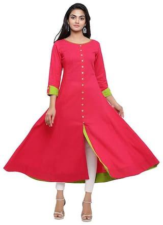 Loywis Fashion Women Pink Solid Anarkali Kurti