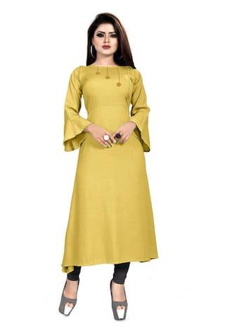 Loywis Fashion Women Yellow Solid A Line Kurti