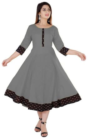 Loywis Fashion Ready For Women Made Cotton Kurta Dress Grey