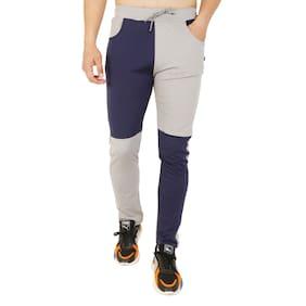 LS SPORTS Men Polyester Blend Colorblocked Grey & Blue  Track Pants
