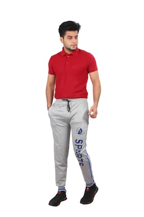 LS SPORTS Men Cotton Blend Printed Grey Joggers
