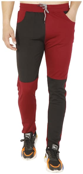 LS SPORTS Men Polyester Blend Colorblocked Maroon & Black  Track Pants