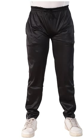 LS SPORTS Men Black Solid Regular fit Track pants