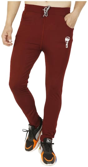LS SPORTS Men Maroon Solid Slim fit Track pants