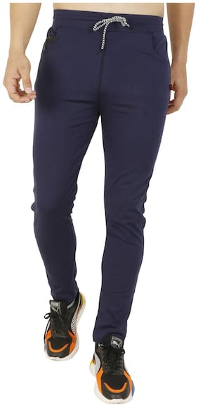 LS SPORTS Men Navy blue Solid Slim fit Track pants