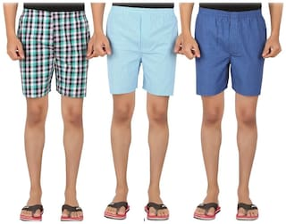 Lucky Roger Checked Boxers - Multi ,Pack Of 3