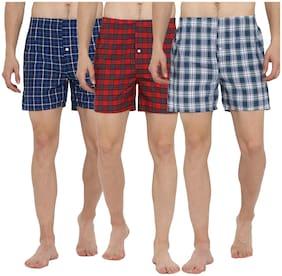 Men Cotton Checked Underwear ,Pack Of 3