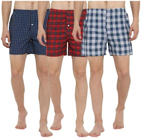 Lucky Roger Men Checked Boxer - Assorted , Set Of 3