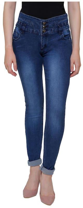 Lufaa, Denim Women High Waist Jeans NOY-NB1104 Navy Blue