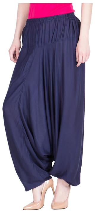 Navy Viscose Fit LUJOSO Blue Gathered Color Harem For Palazzo Women's Belly dxRqxUw