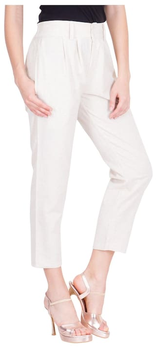 Regular Fit Pant For Women's Trouser Cotton LUJOSO Culottes 4UcTna