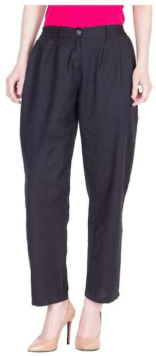 LUJOSO Solid Regular Fit Cotton Culottes Trouser Pant For Women's