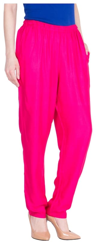LUJOSO Solid Regular Fit Viscose Palazzo Pant For Women's