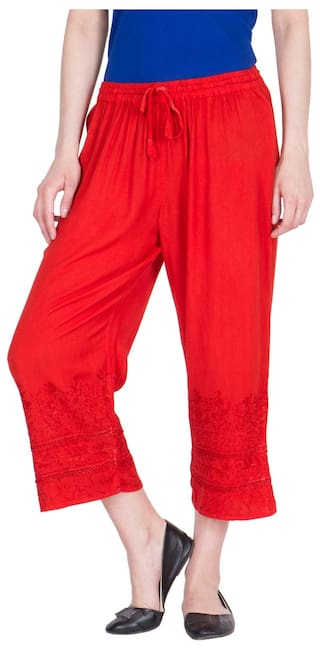 LUJOSO Viscose Embroidered Gouchos Palazzo Pants For Women's