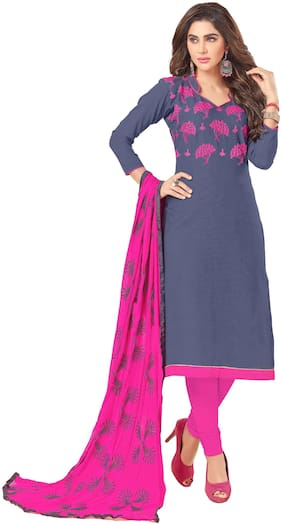 Lumina Creation Chanderi Embroidered Dress material