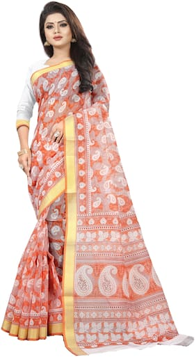 Luvberry Cotton Printed Sarees Orange