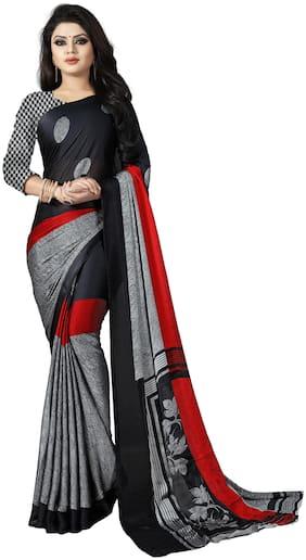 Luvberry Women Crepe Bhagalpuri Saree  (Black)