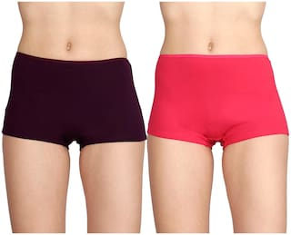 Lux Pack Of 2 Solid High Waist Boyshorts - Assorted