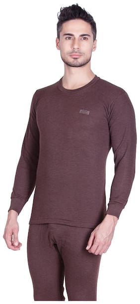 Lux cotts Wool Men Cotton Thermal Top - Brown