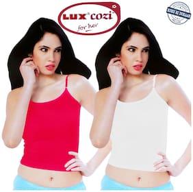 Lux Cozi White;Rani Super Combed Cotton Camisole Strap - Set of 2