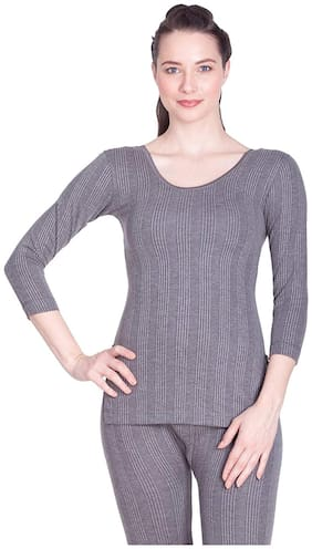 Lux Inferno Women Cotton Thermal top - Grey