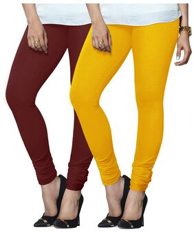 Lux Lyra Set Of 2 Maroon and YellowGreen Cotton Leggings