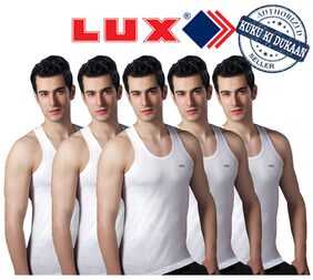 Lux Set Of 5 White Cotton Vests