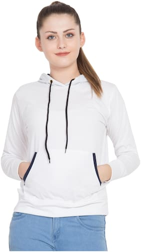 LUXFINITI Women Embroidered Hoodie - White