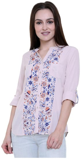 Luxury Living Women Multicolor Printed Crepe Shirt