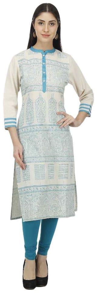 Luxury Living Women Cotton Straight Kurti - Off white