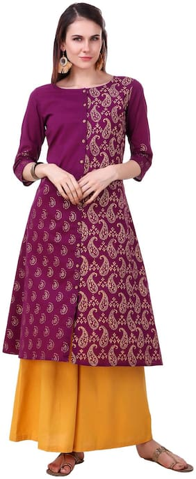 Luxury Living Purple Cotton A Line Kurti