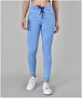 M MODDY Denim Blue Solid Jeans  For Women