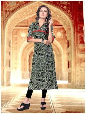 M P STORE Women Green & Black Floral Straight Kurta