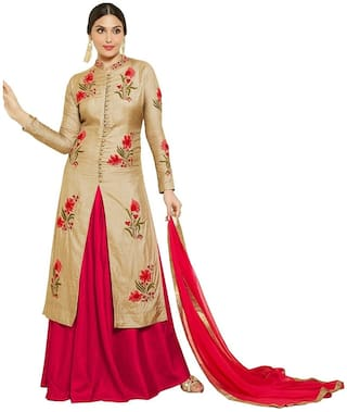 M P STORE Women's Cotton Dress Material (Gold-Red)