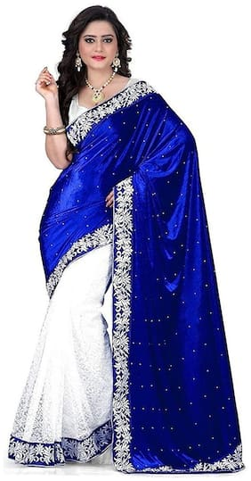 M P Women's Velvet Saree With Unstitched Blouse Piece (Blue-Blue Velvet Saree)