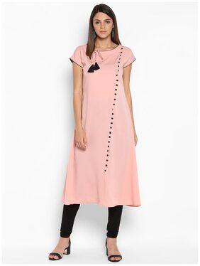 M. TEX Women Crepe Solid A Line Kurta - Pink