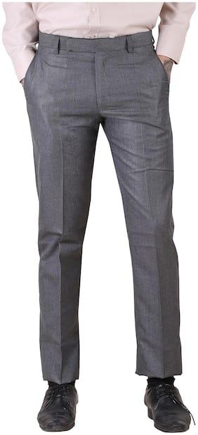 M92 Men Solid Regular Fit & Slim Fit Formal Trouser - Grey