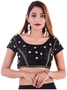 MAATE Black Silk Short Sleeves Readymade with Pad Blouse