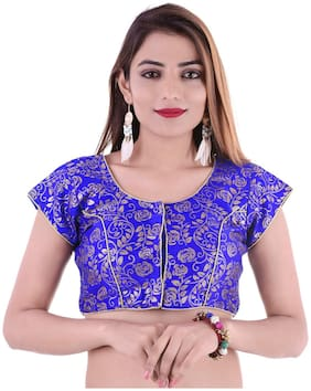 MAATE Blue Brocade Short Sleeves  Readymade with Pad Blouse